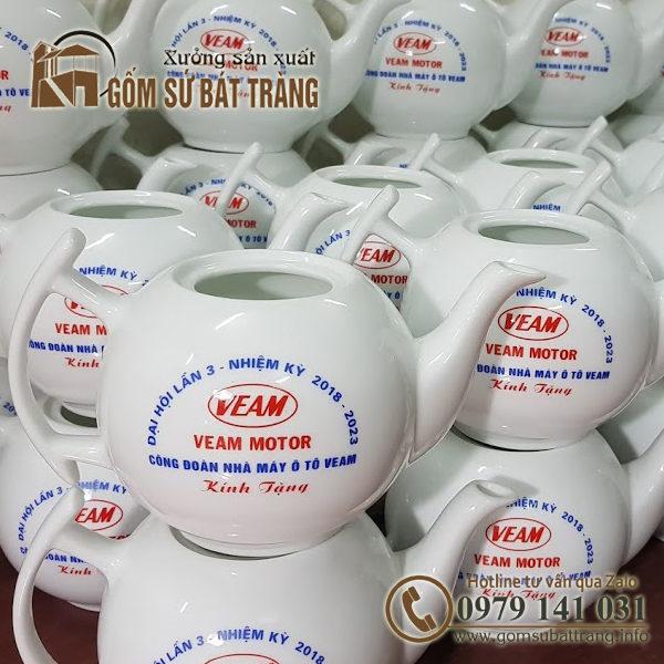 bộ ấm chén in logo quà tặng công ty veam việt nam